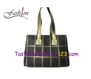 Tas Bahu Simple Woven Stripe Hitam