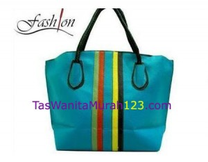 Tas Bahu Simple Stripe Rinbow Biru