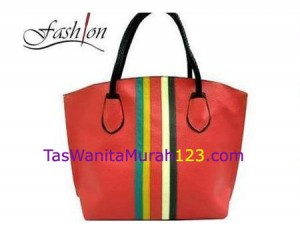 Tas Bahu Simple Stripe Rinbow Merah