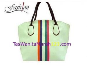 Tas Bahu Simple Stripe Rinbow Putih