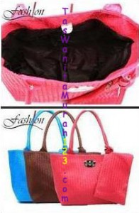 Tas Bahu Woven Silver Clip Pink