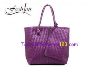 Tas Bahu Simple Woven Two Ungu di TasWanitaMurah