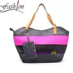 Tas Bahu Two Color Stripe Hitam Pink
