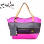Tas Bahu Two Color Stripe Pink Hitam
