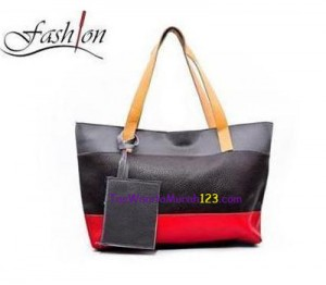Tas Bahu Two Color Stripe 2 Abu Hitam Merah