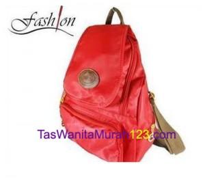 Tas Wanita Murah Tipe Tas Ransel Zipper Oval Merah