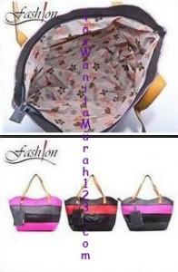 Toko Tas Online Untuk Tas Bahu Two Color Stripe Hitam Pink