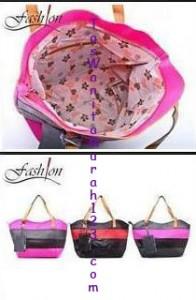 Toko Tas Online Menjual Tas Bahu Two Color Stripe Pink Hitam