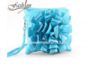 Tas Wanita Murah Import Bunga Light Blue