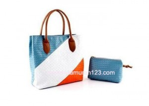 Tas Wanita Bahu Woven Colorful Square Biru Muda Orange