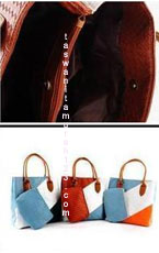 Tas Bahu Woven Colorful Square Coklat Biru Muda