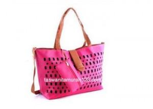 Tas Wanita Murah Inline Klip Perforated Pink