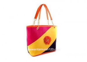 Tas Wanita Murah Model Colorful Flower Orange