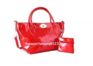 Tas Wanita Murah Color Metalic Klip Merah