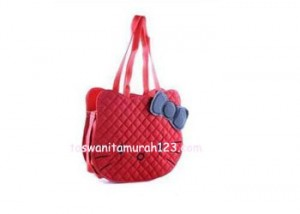 Tas Hello Kitty Head Merah Tua