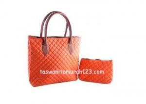 Tas Wanita Murah Rhombus Tote Orange