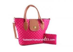 Tas Wanita Murah Rhombus Flap Pouch Pink