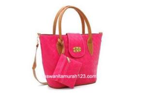Tas Wanita Murah Big Woven Pink