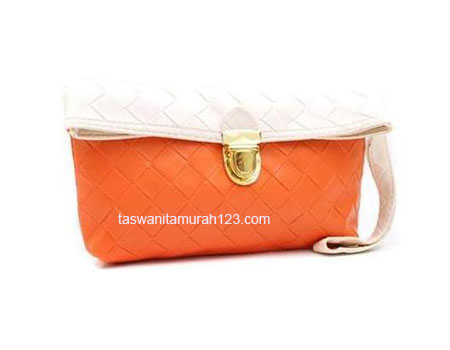 Clutch Murah Big Woven Orange