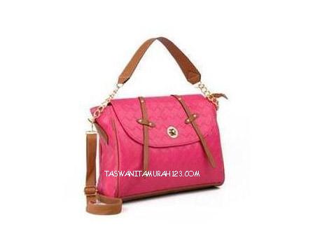 Tas Wanita Murah Chain Big Woven Pink