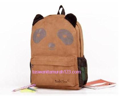 Tas Sekolah Murah Ransel Panda Cokelat 1