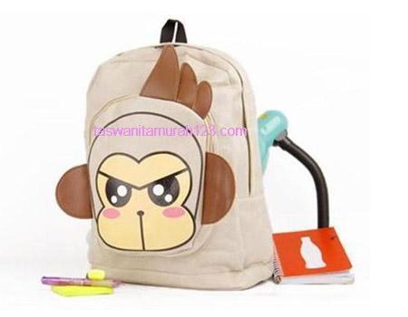 Tas Sekolah Murah Ransel Cute Monkey Cokelat 1