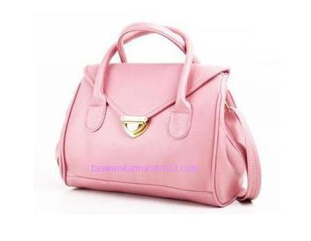 Tas Wanita Murah Satchel Klip Warna Soft Pink