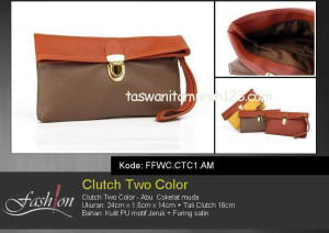 Clutch Murah Two Color Abu Coklat Muda
