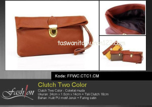 Clutch Murah Two Color Coklat Muda