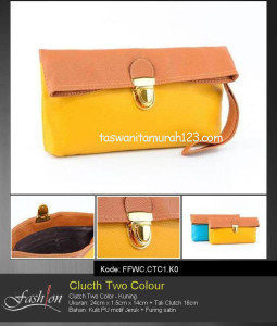 Clutch Murah Two Color Abu Kuning