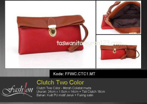 Clutch Murah Two Color Merah Tua