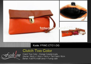 Clutch Murah Two Color Orange