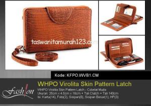 Tas Wanita Murah WHPO Virolita Skin Pattern Latch Coklat Muda