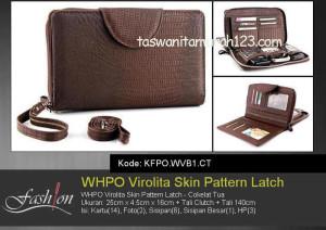 Tas Wanita Murah WHPO Virolita Skin Pattern Latch Coklat Tua