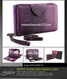 Tas Wanita Murah WHPO Virolita Skin Pattern Latch Ungu