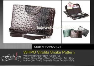 Tas Wanita Murah WHPO Virolit Snake Pattern Coklat Tua