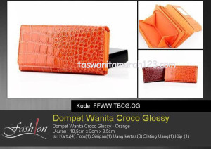 Dompet Wanita Murah Croco Glossy Orange