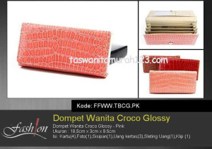 Dompet Wanita Murah Croco Glossy Pink