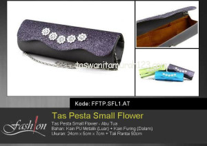 Tas Pesta Murah Small Flower  Abu Tua