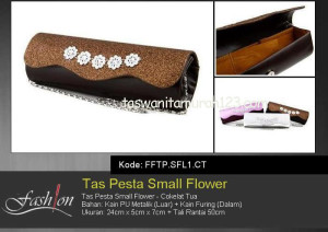 Tas Pesta Murah Small Flower Coklat Tua