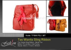 Tas Wanita Murah Sling Ribbon Merah Tua