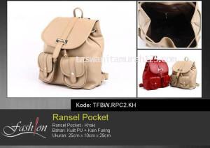 Tas Wanita Ransel Pocket Khaki