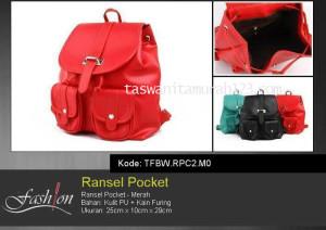 Tas Wanita Ransel Pocket Merah