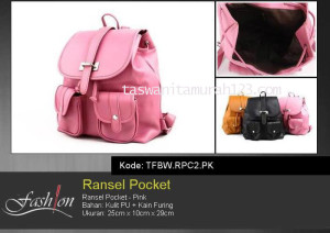 Tas Wanita Ransel Pocket Pink