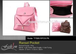 Tas Wanita Ransel Zip Pocket Pink