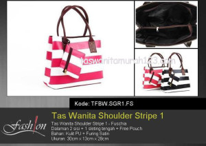 Tas Wanita Murah Shoulder Stripe 1 Pink