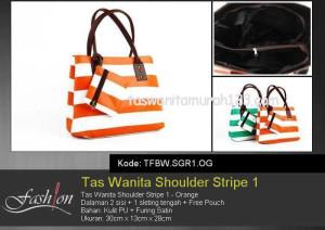 Tas Wanita Murah Shoulder Stripe 1 Orange