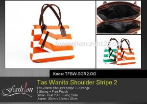 Tas Wanita Murah Shoulder Stripe 2 Orange