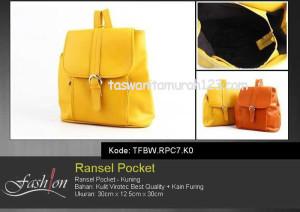 Tas Wanita Murah Ransel Stripe Pocket Kuning