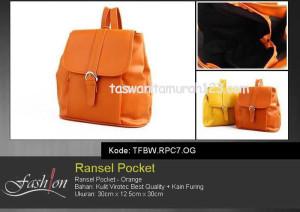 Tas Wanita Murah Ransel Stripe Pocket Kuning Orange